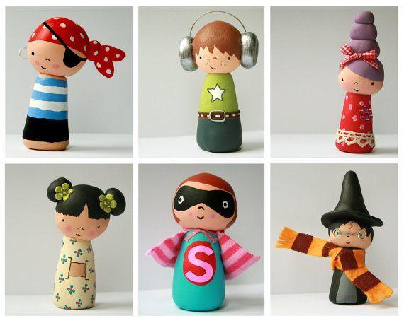 Hello Clementine contemporary kokeshi dolls.