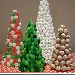 Christmas Candy Trees-Create the ultimate table topper with this candy covered Christmas trees.