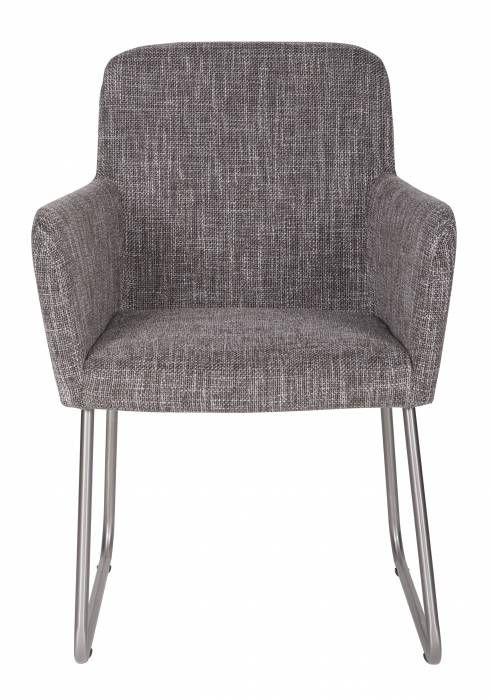 Crafton stoel met arm grijs Woood  Description: Sfeervolle grijs gestoffeerde eetkamerstoel met armleuningen. De stof bestaat uit 65% polyester en 35% acrylic en de poten zijn van geborsteld roestvrijstaal met een diameter van 19 mm. De stoel wordt gemonteerd geleverd en de zithoogte is 45 cm. De hoogte van de armleuningen is 665 cm.  Price: 159.95  Meer informatie  #woononline