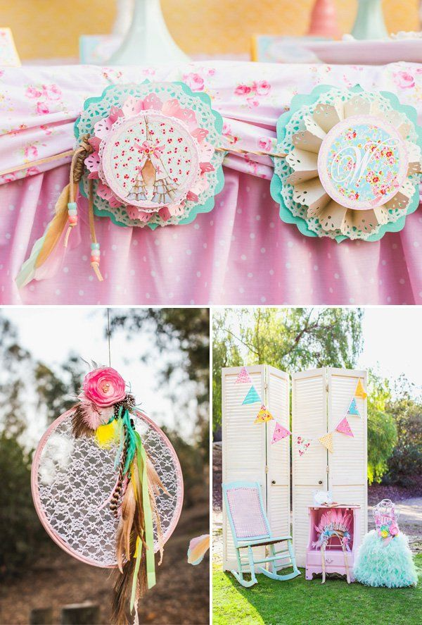 A shabby chic pow wow birthday party. Such gorgeous party decor and details!