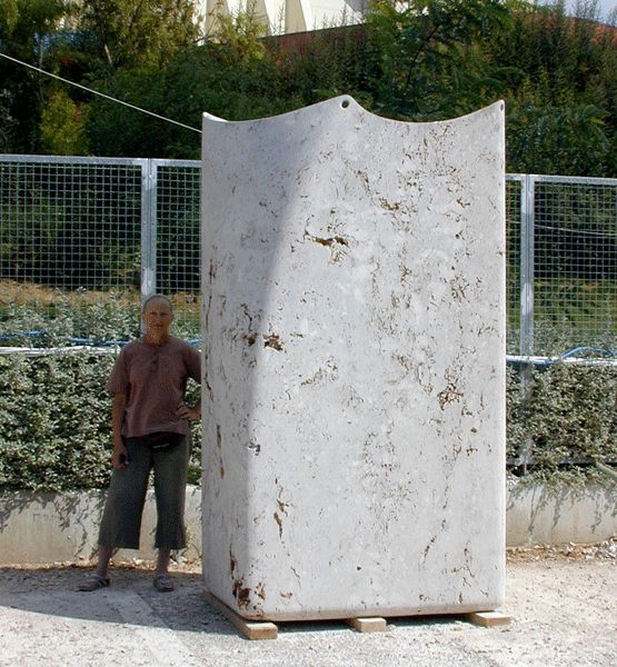 """Sack"". 2006.  Travertine.  250 x 125 x 100 cm. Nikea, Greece."