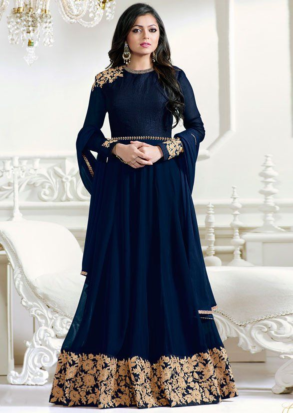 Drashti Dhami Navy Blue Floor Length #Anarkali Suit