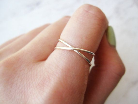 Sterling silver X ring//criss cross ring x ring by TheHumbleRing