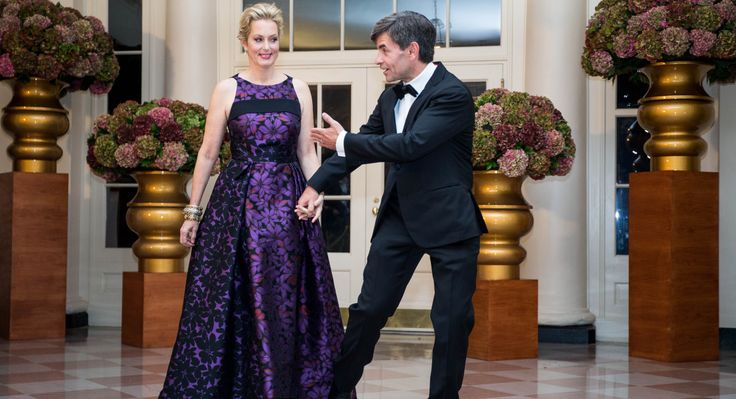 ABC News Chief Anchor and the Chief Political Correspondent George Stephanopoulos and Alexandra Wentworth arrive for the White House State Dinner on Oct. 18.