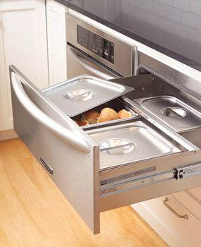 Drawers that keep things warm. This is great!