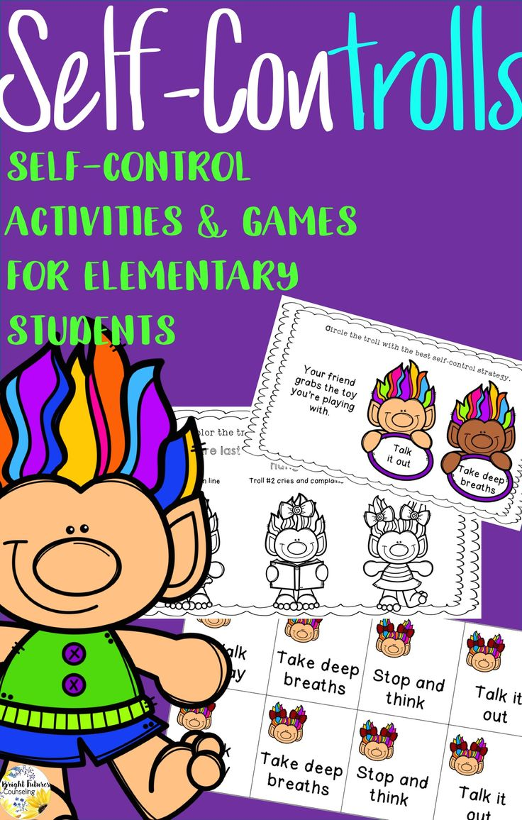 Self-Control activities and games for elementary students! The self-controlls activity pack is a fun way to teach kids self-control strategies!