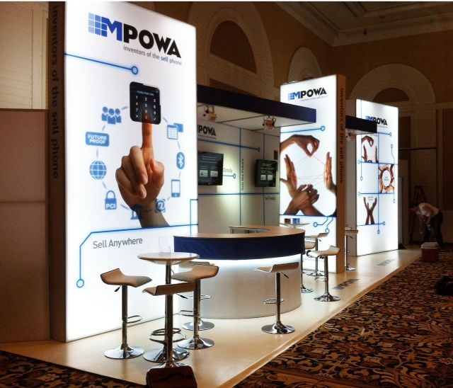 Tension Fabric Exhibition Stands : Custom modular lightbox backwall stand built in esetta