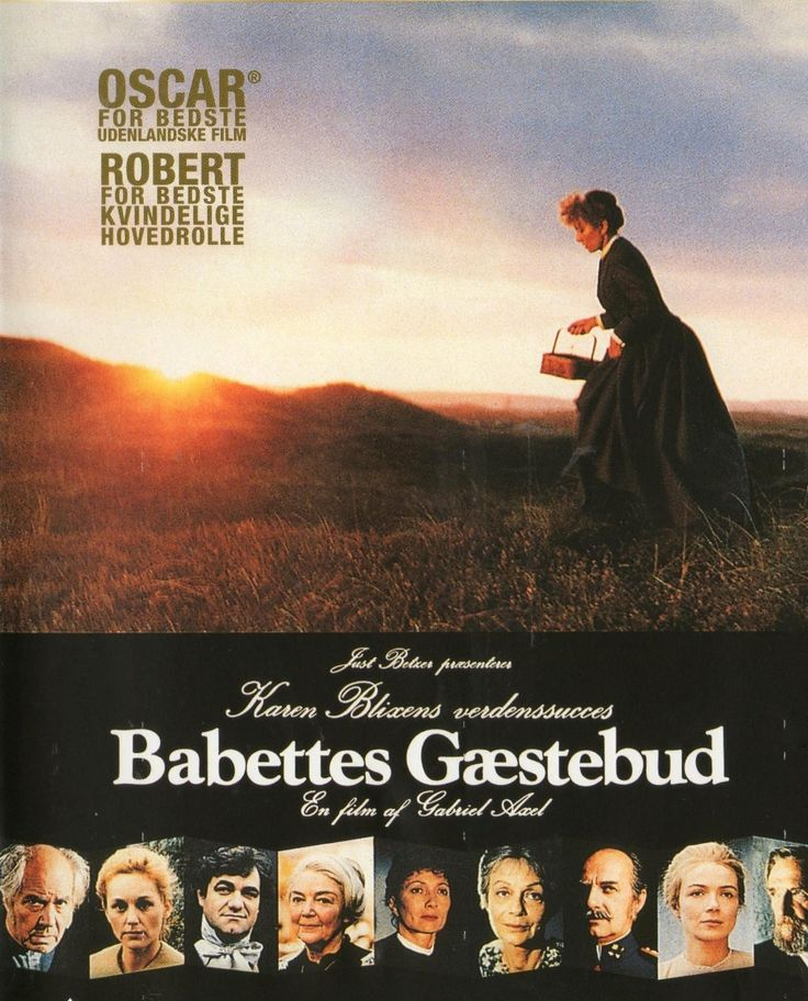 Babette's Feast (1987) Babette, a 19th century French refugee arrives in Jutland to serve as housekeeper for two pious sisters.  They and the entire village are unaware that she is actually a world renowned chef.