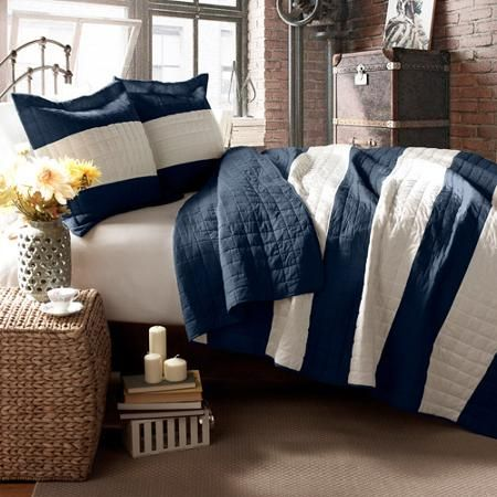 Berlin Stripe Bedding Quilt Set, Navy - Walmart.com