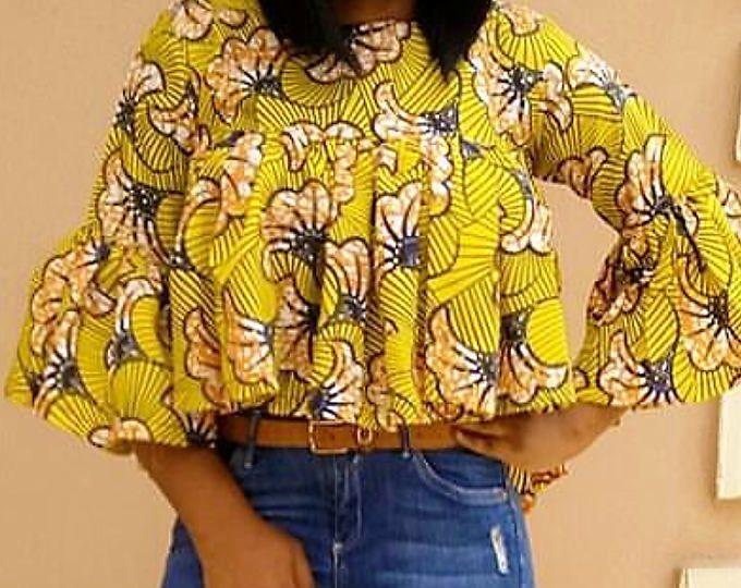 Top femmes africaine Haut chemisier africaine imprimer dessus/Ankara imprimer dessus/Ankara africaine Haut tissu top/chemisier/Midi top swing top africaine vêtements