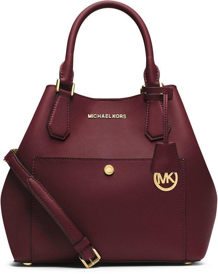MICHAEL Michael Kors Greenwich Large Grab Bag, Merlot/Black Diese und weitere Taschen auf www.designertasch... entdecken