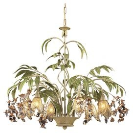 Invite the lush tropical style of Gauguins French Polynesia to your home with this beautiful design.   Product: ChandelierConstruction Material: Metal and glassColor: Green and goldAccommodates: (6) 40 Watt G9 halogen bulbs - includedDimensions: 24 H x 28 Diameter