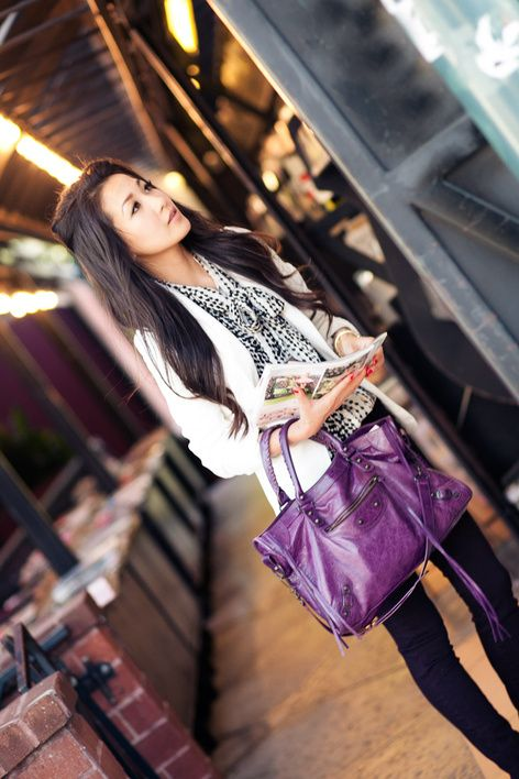 Shades of Purple :: Plum jeans & Raisin Balenciaga