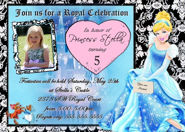 Best Cinderella Invitations Images On Pinterest Parties - Birthday invitation for little girl