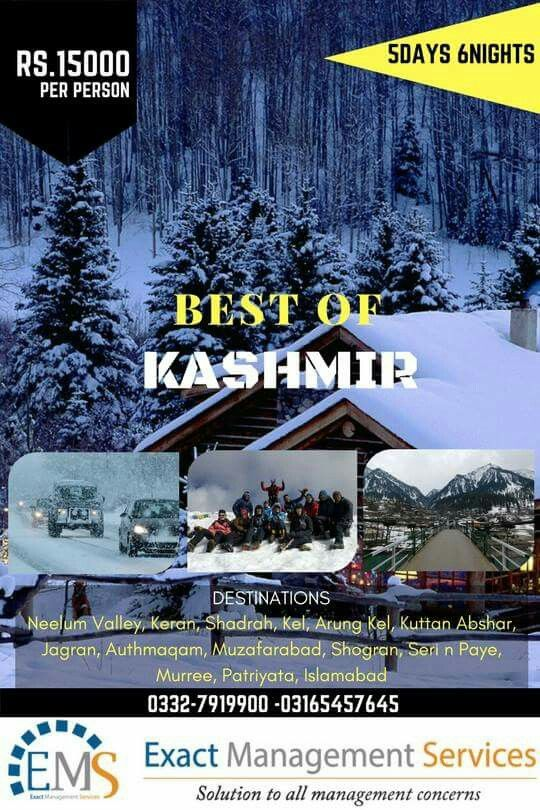 Tour to Kashmir  in just Rs.15000/-per head (Rs. 40000 couple) -  5 Days & 6 Nights. From Islamabad  From Karachi Rs. 18000/-per head (Rs. 46000 couple) -  9 Days & 8 Nights.  👉*-Kashmir Trip Attraction-* Neelum Valley, Keran, Shadrah, Kel, Arung Kel, Kuttan Abshar, Jagran, Authmaqam, Muzafarabad, Shogran, Seri n Paye, Murree, Patriyata, Islamabad.  *-SERVICES INCLUDED-* 1- AC/Heated Transportation 2- Standard Accommodation in Hotels (3-4 Persons Sharing) 3- Local Jeep charges 4- Travel…