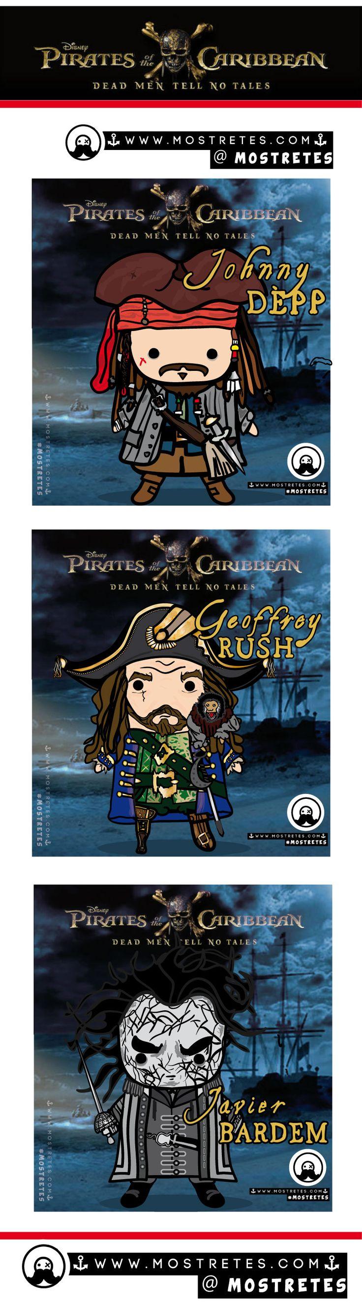Ilustraciones en formato mostretes, Piratas del Caribe 5, pirates of the caribbean 5, La venganza de Salazar. Johnny Dépp