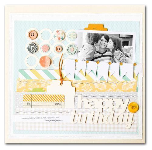 WhiteScrapbook Ideas, Studio Calico, Happy Birthday, Studios Calico, Scrapbook Layout, Calico 35Mm, Paper Crafts, Stephanie Dagan, Things Scrapbook