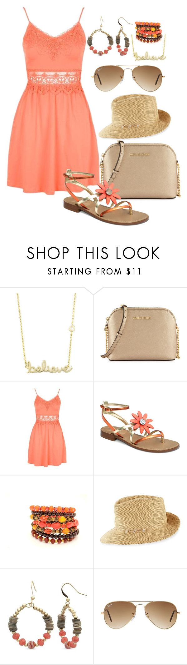 """""""Summer Day"""" by reneta222 ❤ liked on Polyvore featuring beauty, Sydney Evan, MICHAEL Michael Kors, Topshop, Eric Javits, Kim Rogers and Ray-Ban"""