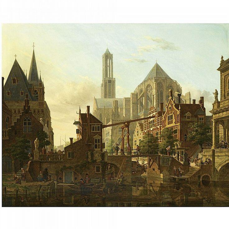 Jan Hendrick Verheijen (Utrecht 1778-1846) A LIVELY TOWNSCENE, UTRECHT signed c.r. oil on panel 65 by 80 cm