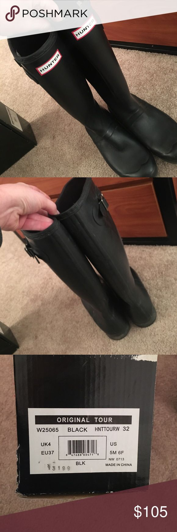 Tall hunter rain boot Black size 6, will include cream boot socks! Worn but still in perfect condition. I can send more pics if you'd like Hunter Boots Shoes Winter & Rain Boots