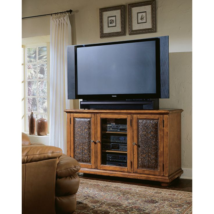 Hooker Furniture: Decorator Group Plasma Console   Wood With Leather