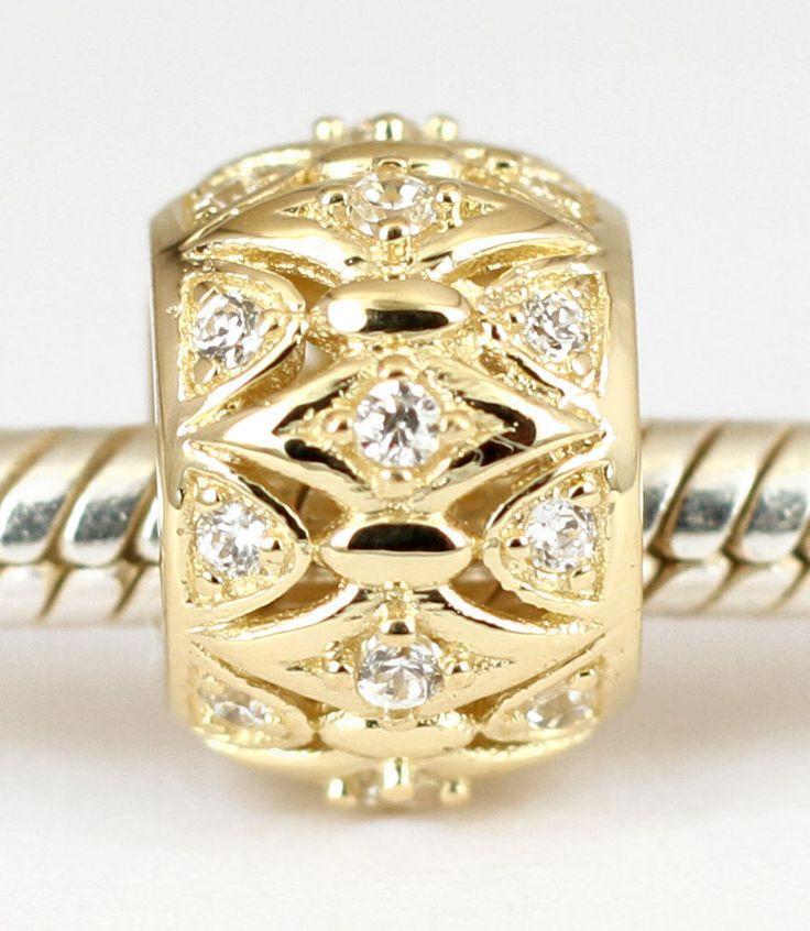 SOLID 9CT 9K GOLD Elegant BEAD with 24 Sparkling CZ For Charm Bracelet /Necklace