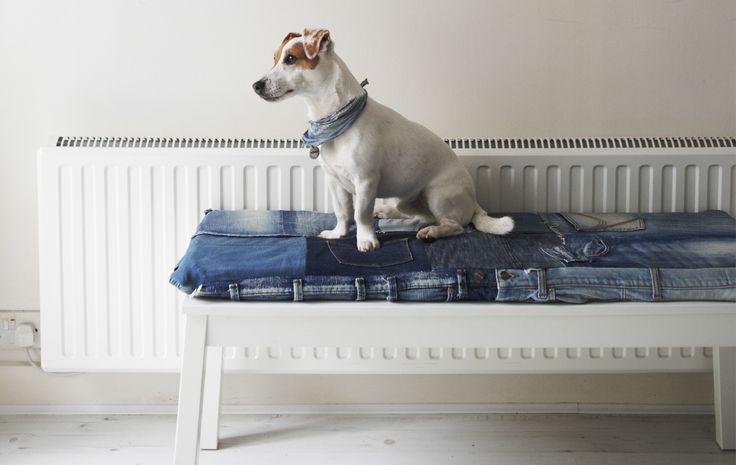 Faça uma almofada de assento a partir de calças de ganga usadas
