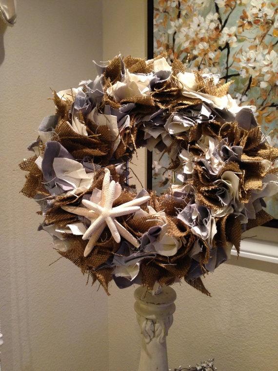 Shabby Chic Burlap Blue & White Linen Starfish by PurrtyNeatStuff, $49.95