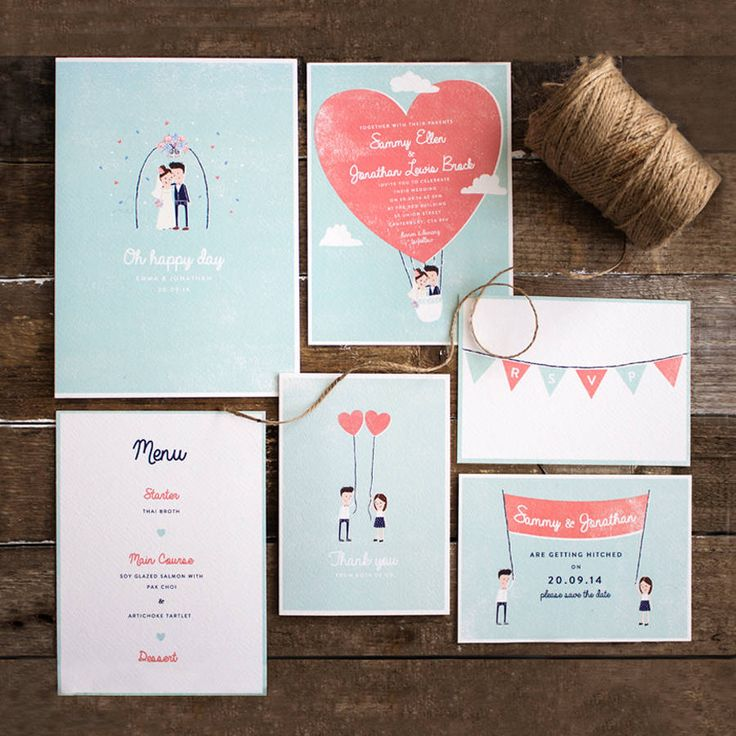 retro style character wedding stationery by the lovely drawer   notonthehighstreet.com