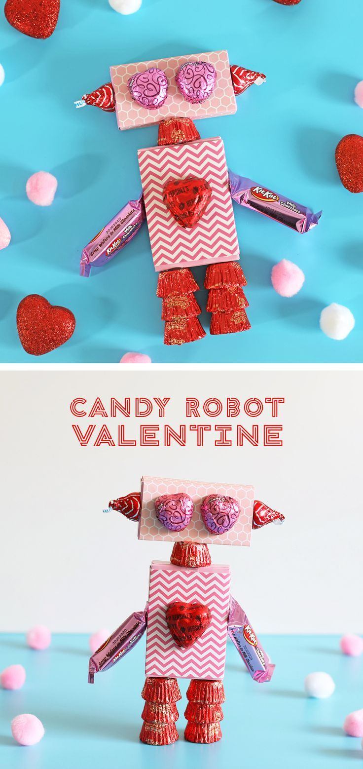 Valentines Day Crafts are so fun to make, and this candy robot is the perfect Valentines Day craft for kids to make or to give to your children or grandchildren. #valentinesday
