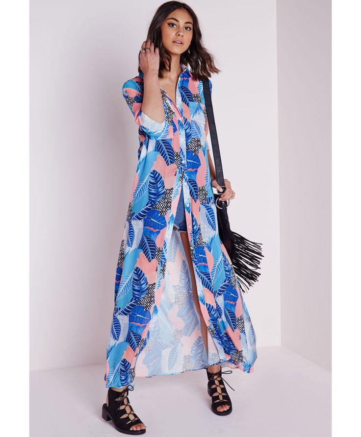 Robe longue imprimé rose/bleu - Robes - Robes longues - Missguided