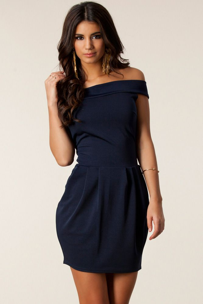 Graceful Sexy Off-The-Shoulder Pleated Mini Dress