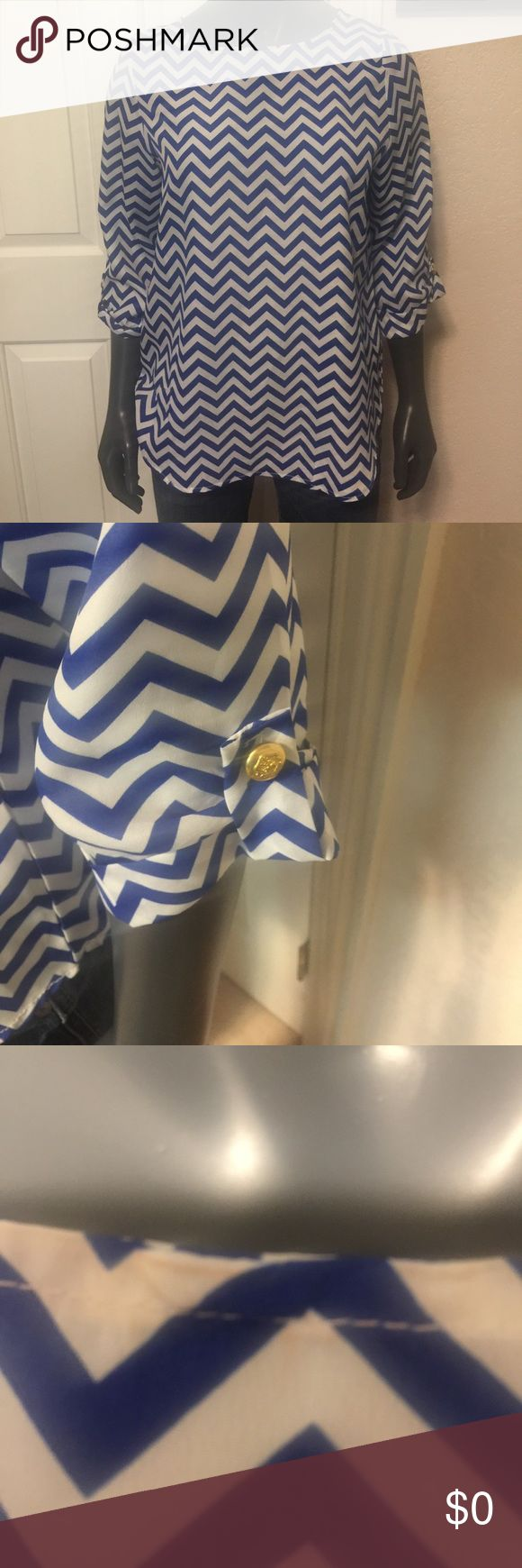 Chevron Top Blue and white chevron top. 3/4 sleeves with gold buttons. Tops