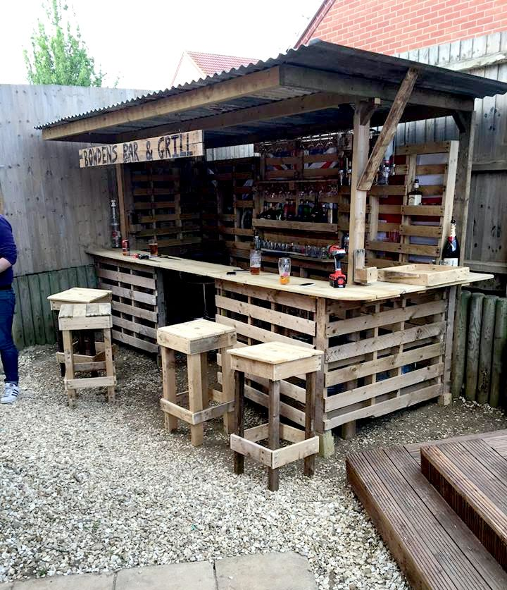 all in one pallet garden bar
