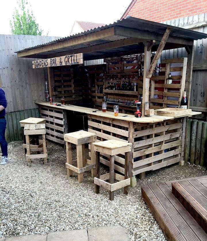 all in one pallet garden bar