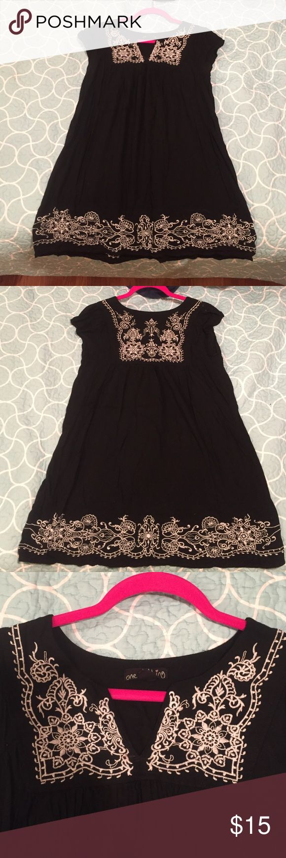 BLACK SHORT SLEEVE SHIRT W/ WHITE LACE DETAIL One Clothing💜short sleeve shirt/dress💜black w/ white lace detail💜size LG💜used but still in very good condition💜no snags/holes/stains one clothing Tops Blouses
