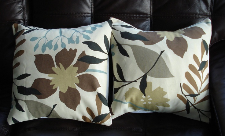 Throw Pillows brown blue cream flower leaf  Print Design UK fabric two 16 x 16 inch handmade. $30.00, via Etsy.