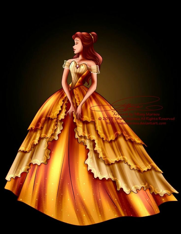 Belle in her new and beautiful golden yellow ballgown dress