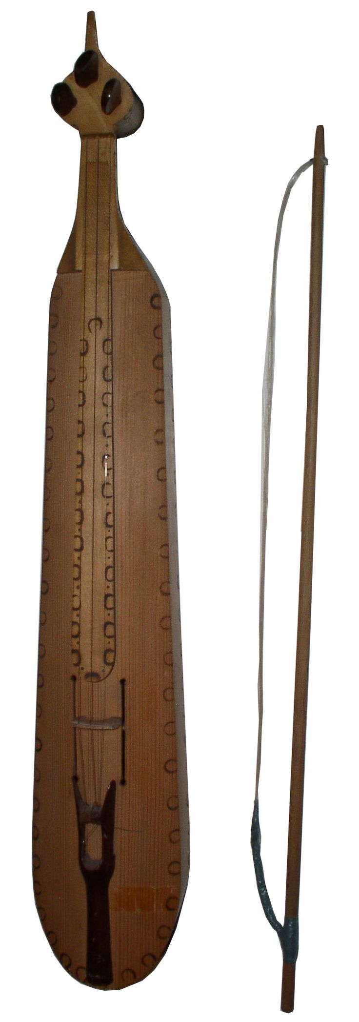 """Kemence is a bowed string instrument native of Persia, used in traditional classical music of Iran, Armenia, Azerbaijan, Uzbekistan, Turkmenistan. Kashmir is known as """"saz-i Kashmir"""" (""""saz Kashmir""""). Traditionally, kamanchí has three strings of silk, but modern has four metal strings while tuning pegs are ivory.  Horsehair bow. As a tourist instrument has no fixed length, but professionals use Kemencés 56 cm long. (Mt)"""