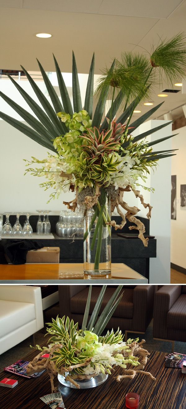Papyrus, Pink mini pineapples, Mint Ice cymbidiums, white dendrobiums, gray palm, coconut fiber