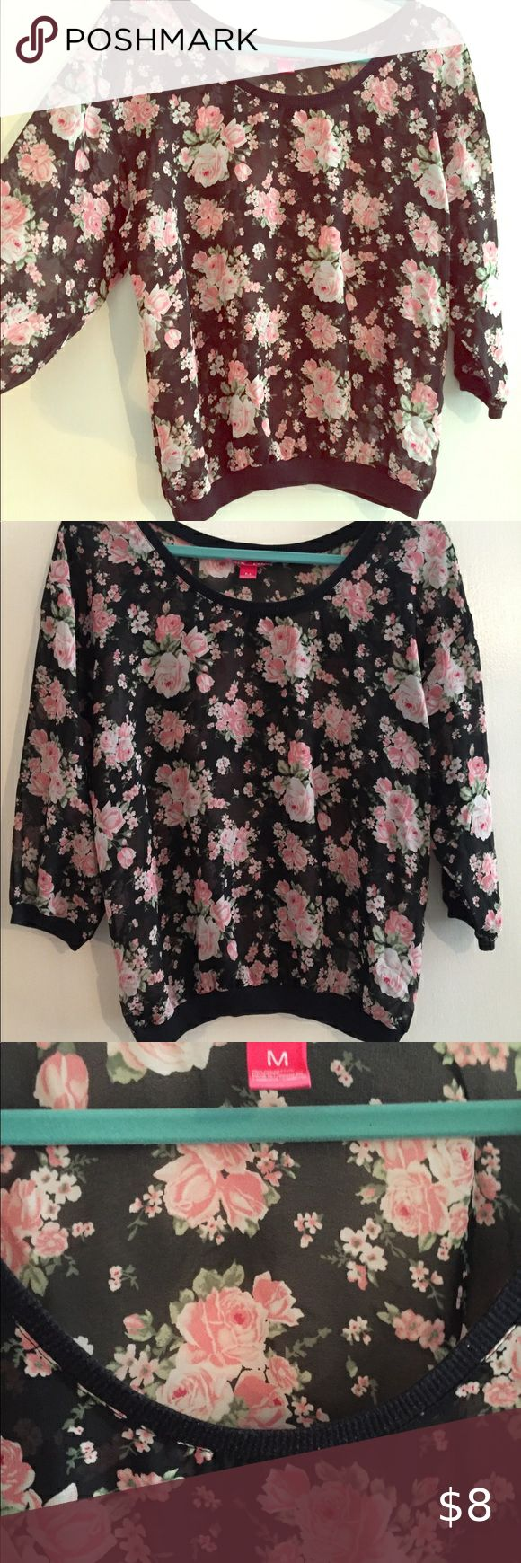 Sheer black floral top in 2020 Black floral top, Floral