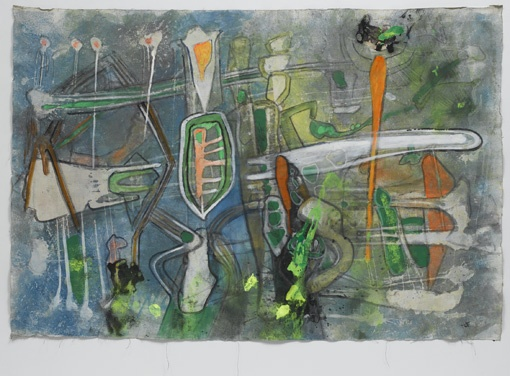 "Roberto Matta Untitled, 1995 oil on canvas 53-1/4"" x 78-3/4"" (135.3 cm x 200 cm)"