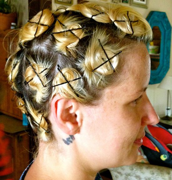 Pin curls -- My mom still does this.  She's 85 years old and has never done it another way.  She's so cute!!
