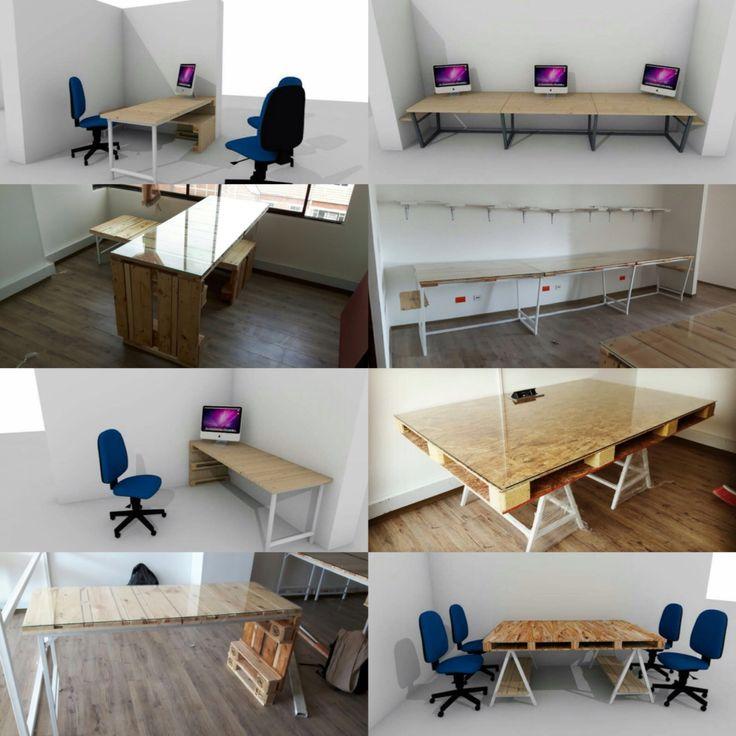 Oficinas con pallets por 50plusarch #palet #pallet #reciclado #50plusarch #diseño
