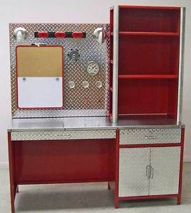 Custom Fire Truck Theme desk. I think I need this for my office at work!