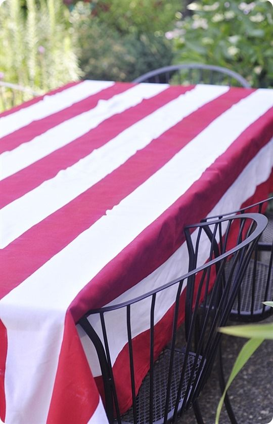 Diy Anthro Inspired Red And White Tablecloth Craft Ideas