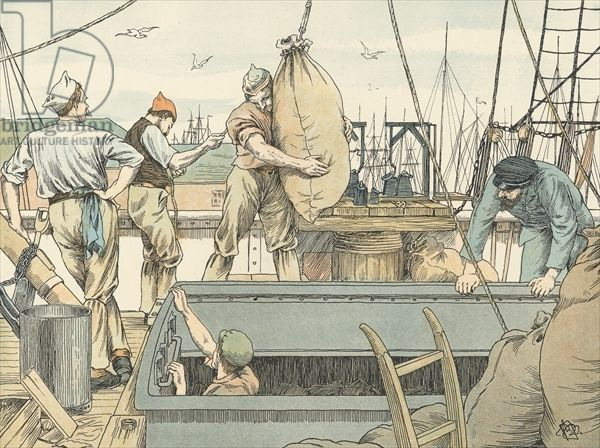 Stevedore, illustration from 'Four And Twenty Toilers', engraved and printed by Edmund Evans at the Racquet Court Press, pub. by Grant Richards, London, 1900 (colour litho)