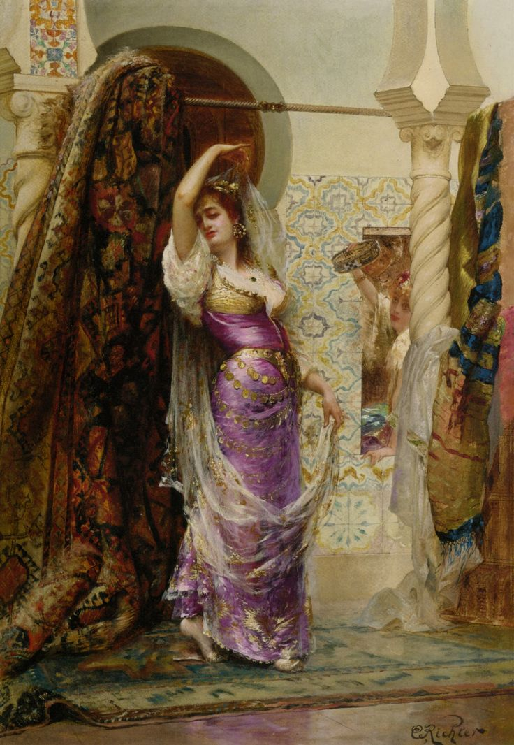 Preparing For The Performance. Edouard Frédéric Wilhelm Richter (French, 1844-1913). Oil on canvas. Primarily known as a genre scenes and portrait painter in the years 1860-1870, Richter later gained recognition for his Orientalist paintings. He exhibited sensual depictions of harems, odalisques, and dancers, such as in this work, evolving in a mysterious and oniric atmosphere. He introduced in his works a great number of accurate architectural and ethnographic details.