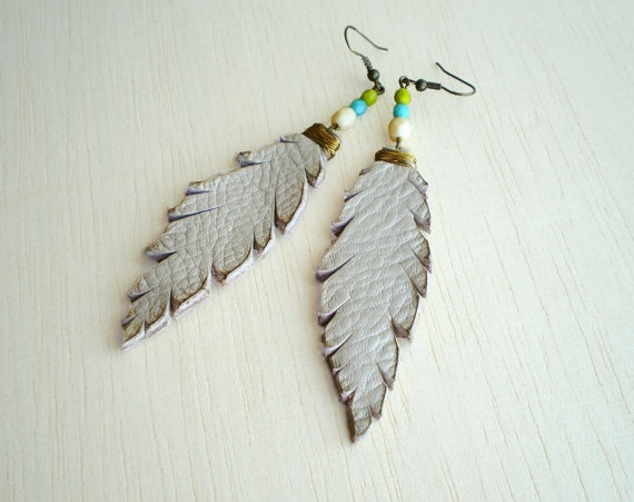 cream leather feathers with gold wire and beads by iuliachifelea, $19.00
