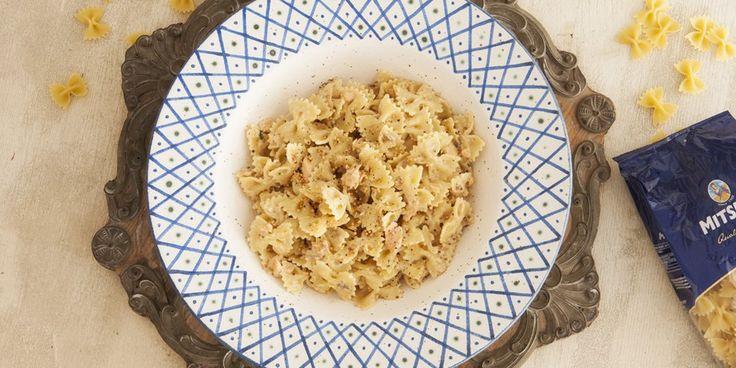 Φιογκάκια με σολομό και κρέμα μουστάρδας